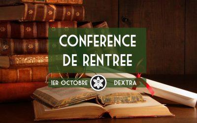 Conférence Dextra 01/10 : Conférence de Rentrée